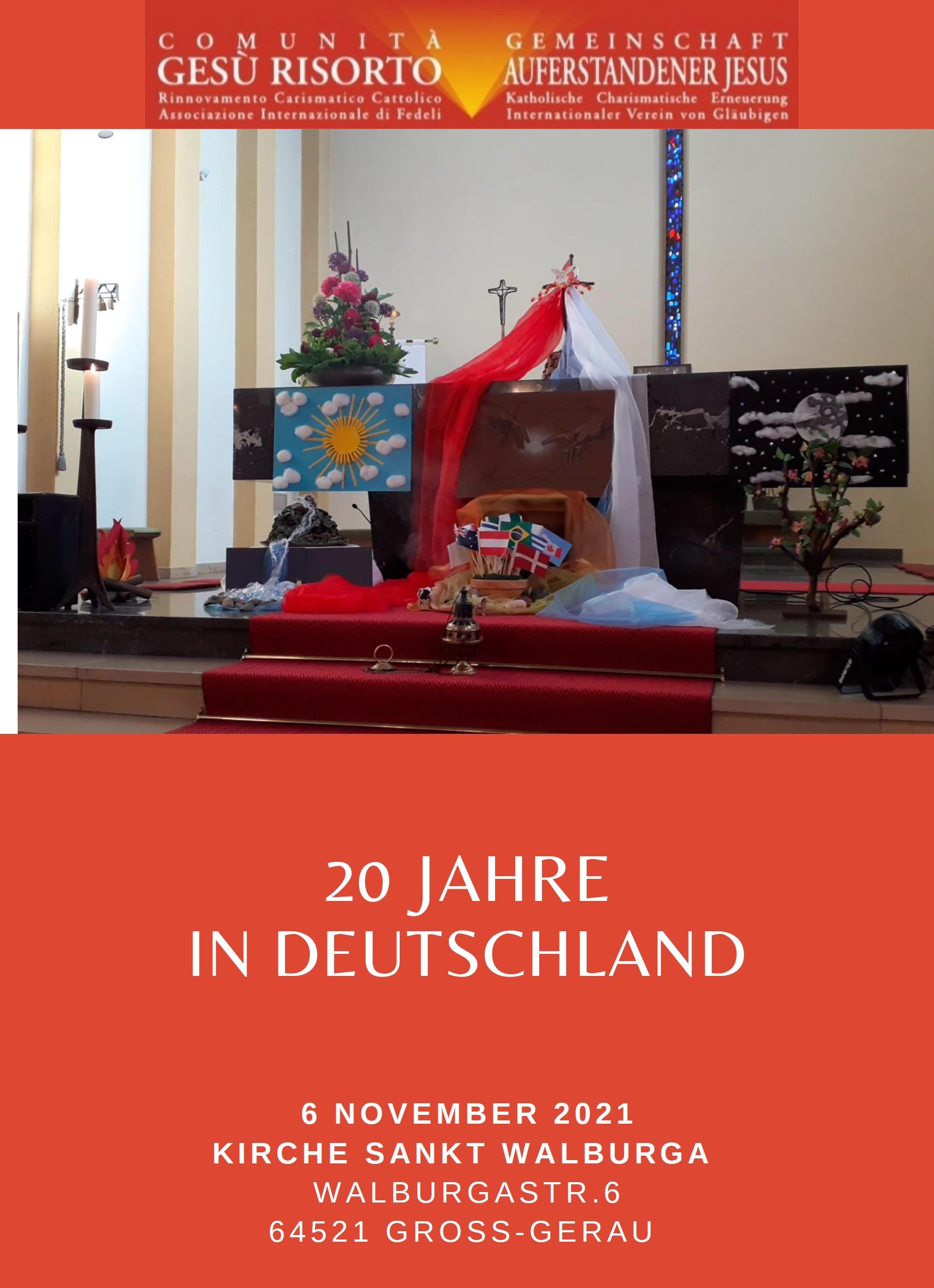 20-jähriges Jubiläum der Gemeinschaft Auferstandener Jesus (Comunità Gesù Risorto)